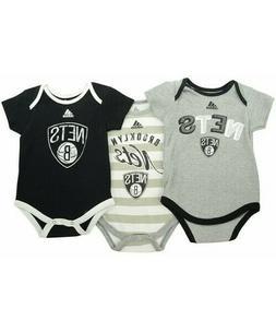 adidas Babies' Brooklyn Nets 3-Pack Bodysuit Set