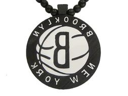 WOOD BROOKLYN NEW YORK NY NETS BASKETBALL PENDANT CHAIN NECK
