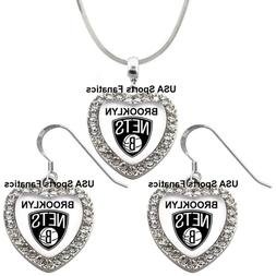 Brooklyn Nets 925 Necklace / Earrings or Set Team Heart With