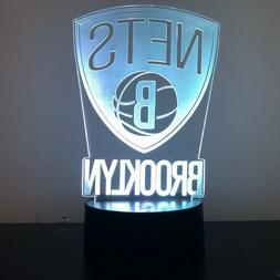 BROOKLYN NETS BASKETBALL 3D Acrylic LED 7 Colour Night Light