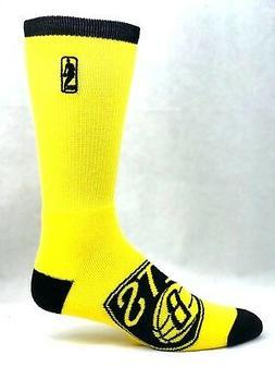 Brooklyn Nets Basketball Men's Yellow Crew Socks New