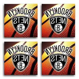 Brooklyn Nets Basketball Rubber Square Coaster set  SRC2032