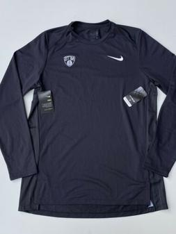 Nike Brooklyn Nets Black Hyperelite Long Sleeve Shirt Men's