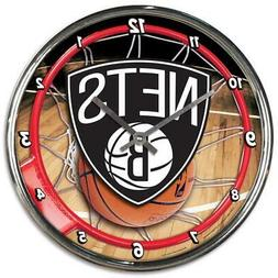 Brooklyn Nets Chrome Round Wall Clock  NBA Sign Banner Offic