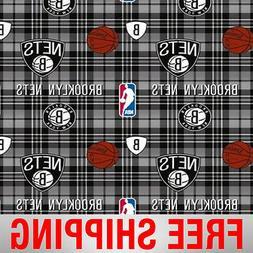 """Brooklyn Nets NBA Fleece Fabric - 60"""" Wide - Style# 5008 - F"""