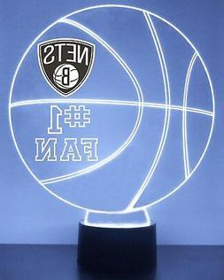 Brooklyn Nets NBA Basketball LED Sports Fan Lamp, Personaliz
