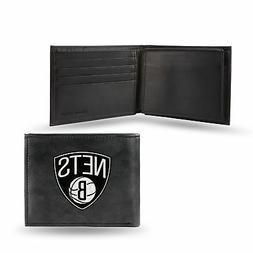 Brooklyn Nets NBA Embroidered Team Logo Black Leather Bi-fol