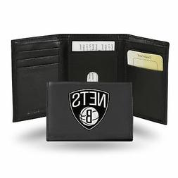 Brooklyn Nets NBA Embroidered Team Logo Black Leather Trifol