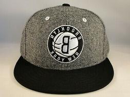 Brooklyn Nets NBA Adidas Snapback Hat Cap Gray Black