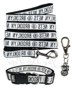 Pets First Brooklyn Nets Nylon Collar and Leash; NBA Officia