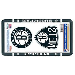 BROOKLYN NETS THIN RIM LICENSE PLATE FRAME WITH 2 DECALS NEW