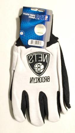 Brooklyn Nets White & Black Sport Utility Grip Gloves - New