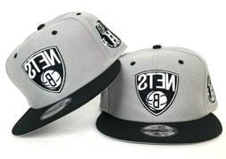 New Era Grey - Black Brooklyn Nets Logo 9Fifty Snapback Hat