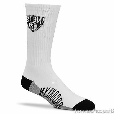 brooklyn nets 506 white crew socks adult