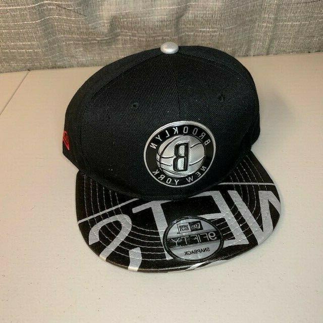 brooklyn nets black 9fifty snapback hat baseball