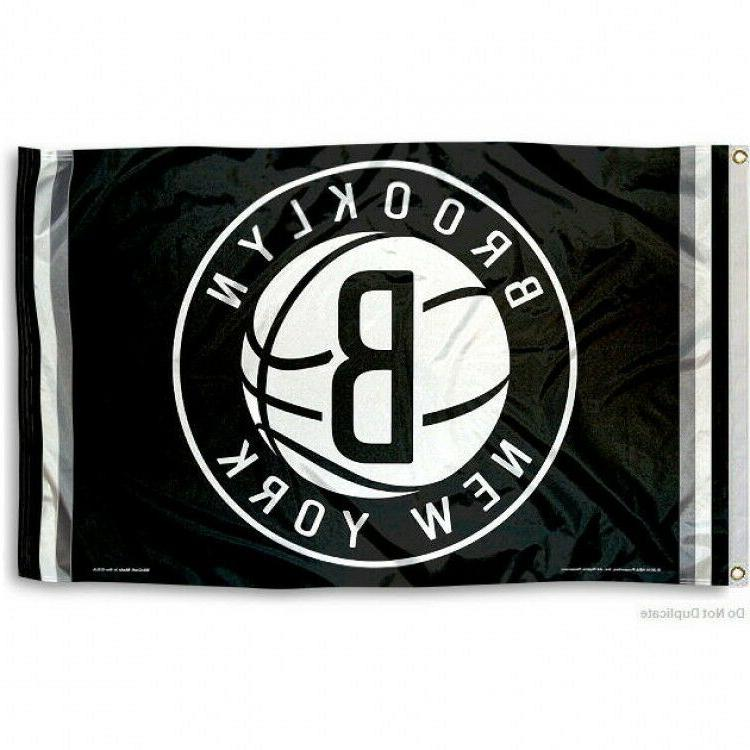 brooklyn nets flag 3 x5 nba logo