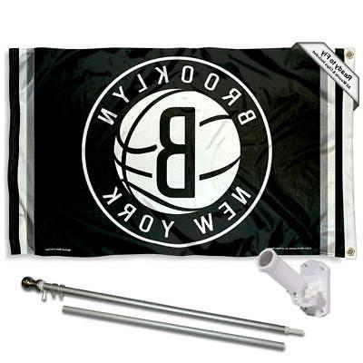brooklyn nets flag pole and bracket kit