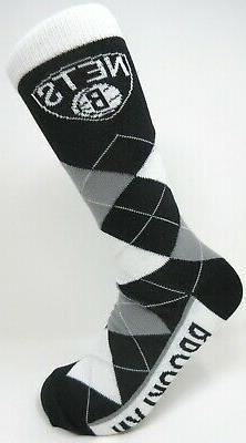 Brooklyn Nets NBA For Bare Feet Argyle Thin Crew Dress Socks