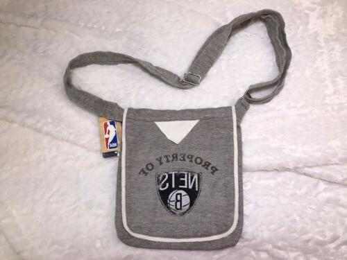 NBA Store Brooklyn Crossbody Bag Purse Shoulder Gray Sweatshirt
