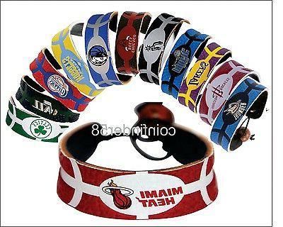nba team color leather basketball bracelet pick