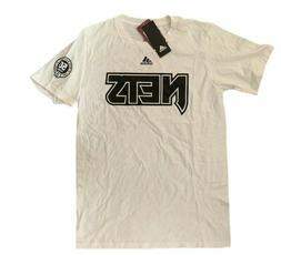 Adidas Mens Brooklyn Nets The Go-To Tee T-Shirt White Size 2