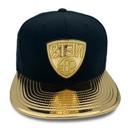 Mitchell & Ness Brooklyn Nets Snapback Hat Cap Black/Gold Pa