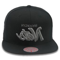Mitchell & Ness Brooklyn Nets Snapback Hat Cap Black/Grey Sc