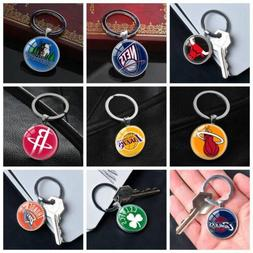 NBA Basketball Team Keychain Silver Car Key Glass Keyring Pe