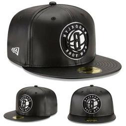 New Era NBA Brooklyn Nets 5950 Fitted Hat Black Team Faux Le