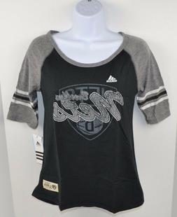 NBA Brooklyn Nets Girls Adidas Hi-Lo Raglan Tee T-Shirt, Bla
