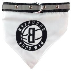 NBA Official Brooklyn Nets Bandana Collar for Pets, Med Fits