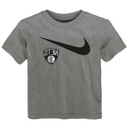 Nike NBA Toddlers Brooklyn Nets Swish Logo Tee Shirt, Gray